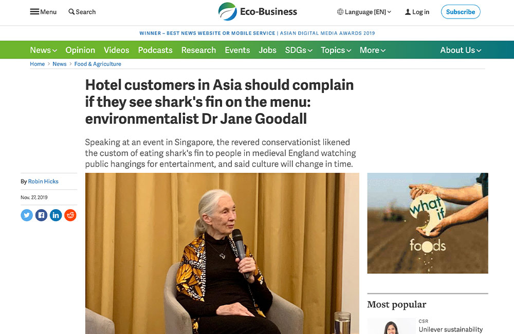 Hotel customers in Asia should complain if they see shark's fin on the menu: environmentalist Dr Jane Goodall