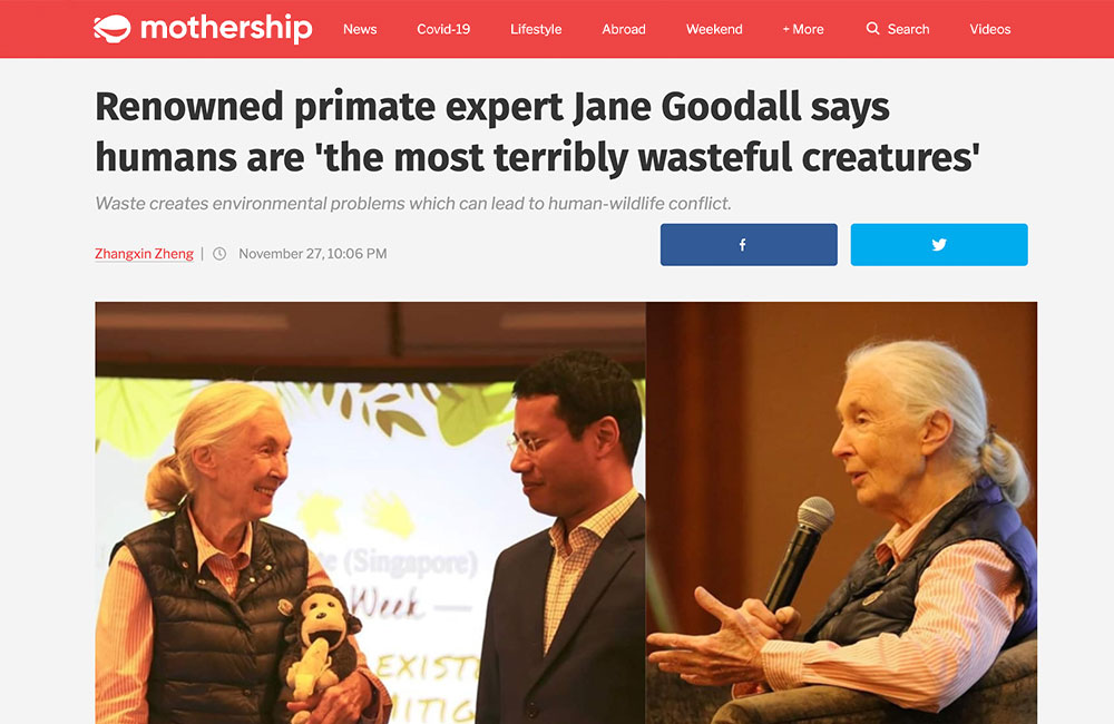 Renowned primate expert Jane Goodall says humans are 'the most terribly wasteful creatures'
